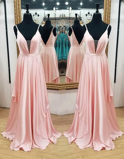 Deep V Neck Long Pink Chiffon Prom Dress Floor Length Women Dress