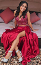 2 Pieces Long Satin Red Prom Dress V Neck Beaded Floor Length