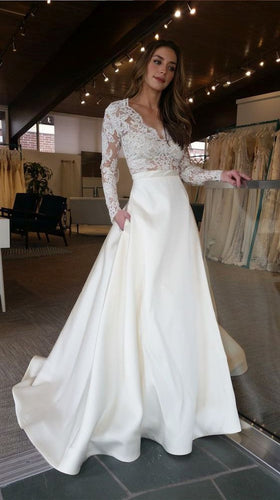 V Neck Long Sleeves A-line Ivory Satin Wedding Dress Charming Women Dress