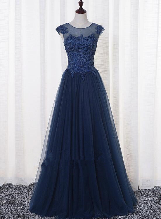 Cap Sleeves A-line Navy Blue Tulle Prom Dress with Lace Appliques