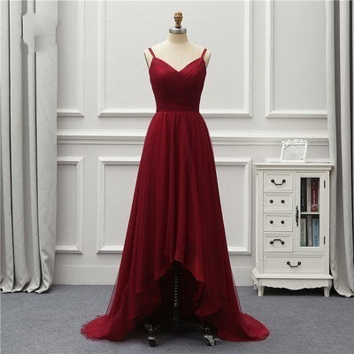 Women's High Low A-line Long Chiffon Prom Dress Spaghetti Straps Women Evening Dress