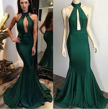 Halter Neck Mermaid Green Satin Prom Dress Floor Length Women party Dress