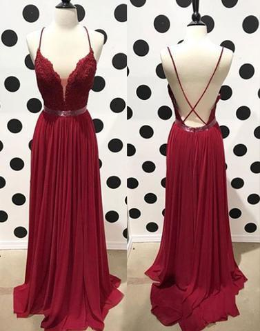 Spaghetti Straps Long Red Chiffon Prom Dress Lace Appliques Floor Length