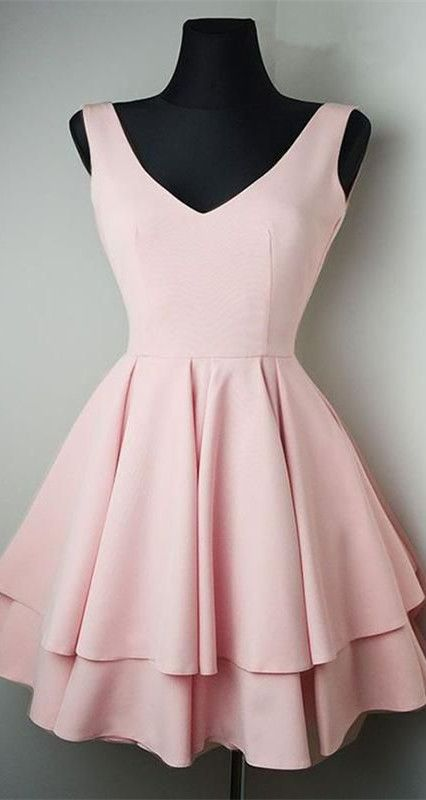 Above knee Mini Short Satin Pink Homecoming Dress
