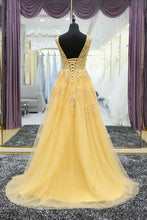 V neck A-line Long Yellow Tulle Prom Dress with Lace Appliques