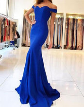 Off the Shoulder mermaid Blue Satin Prom Dress