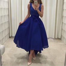 V Neck Royal Blue Mid-calf Chiffon Prom Dress