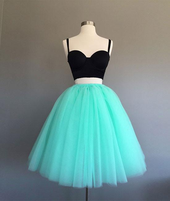 2 Pieces Above Knee Mini Tulle Homecoming Dress Spaghetti Straps