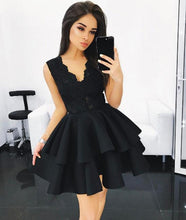 Above knee Mini Black Satin Homecoming Dress with Lace Appliques