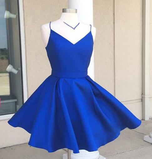Above Knee Mini Royal blue Short Satin Homecoming Dress Spaghetti Straps