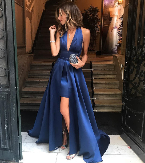 Blue Long Satin Prom Dress V Neck Floor Length Women Dress