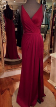Spaghetti Straps V Neck Long Satin Prom Dress Floor Length