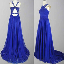 Halter Neck Royal Blue Long Chiffon Prom Dress Floor Length Women Dress
