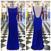Open back Sheath Royal Blue Long Satin Prom Dress