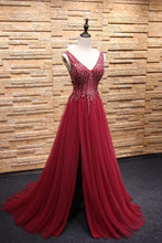 V Neck A-line Long Tulle Prom Dress Slit Beaded Women Dress