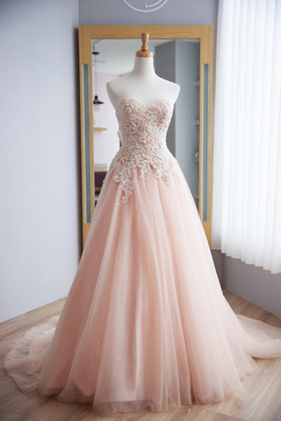 Strapless A-line Pink Tulle Prom Dress Lace Appliques