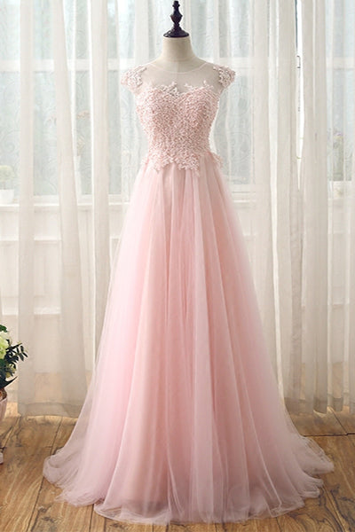 Cap Sleeves A-line Tulle Pink Prom Dress Lace Appliques