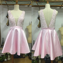 Deep V Neck Short Pink Satin Homecoming Dress Open back Beaded