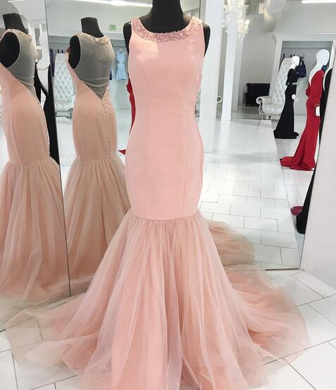 Mermaid Long Tulle Satin Scoop Neck Pink Prom Dress