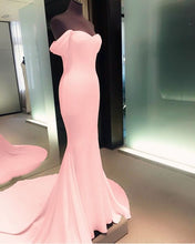 Off the Shoulder Long Mermaid Pink Satin Prom Dress