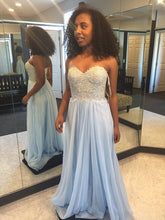 Strapless A-line Light Blue Chiffon Prom Dress with Lace Appliques