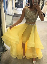 2 Pieces Yellow Organza Satin Prom Dress Scoop Neck