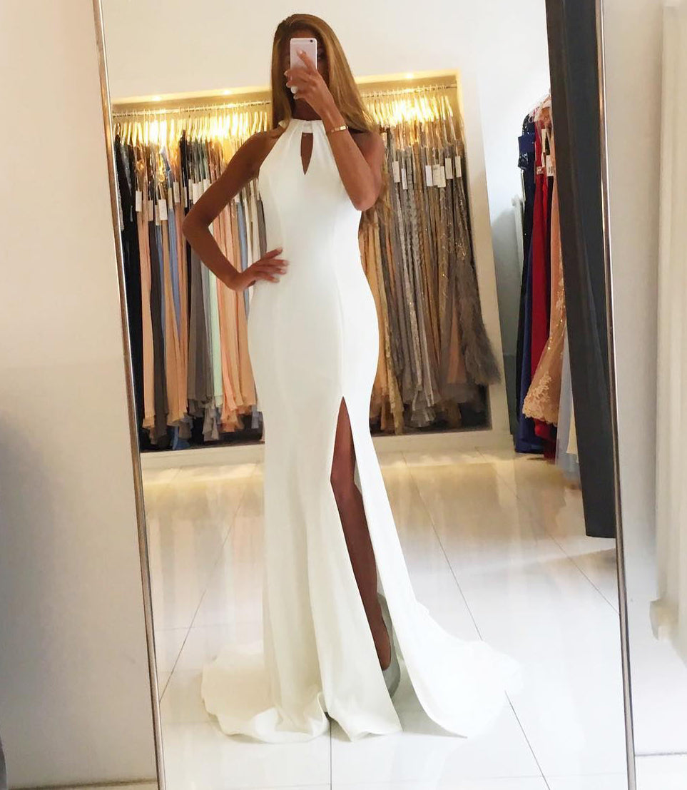 Halter Neck Sheath Long Satin Slit Prom Dress