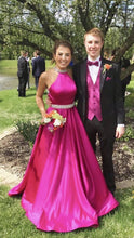Halter Neck Long Satin Prom Dress Beading Belt