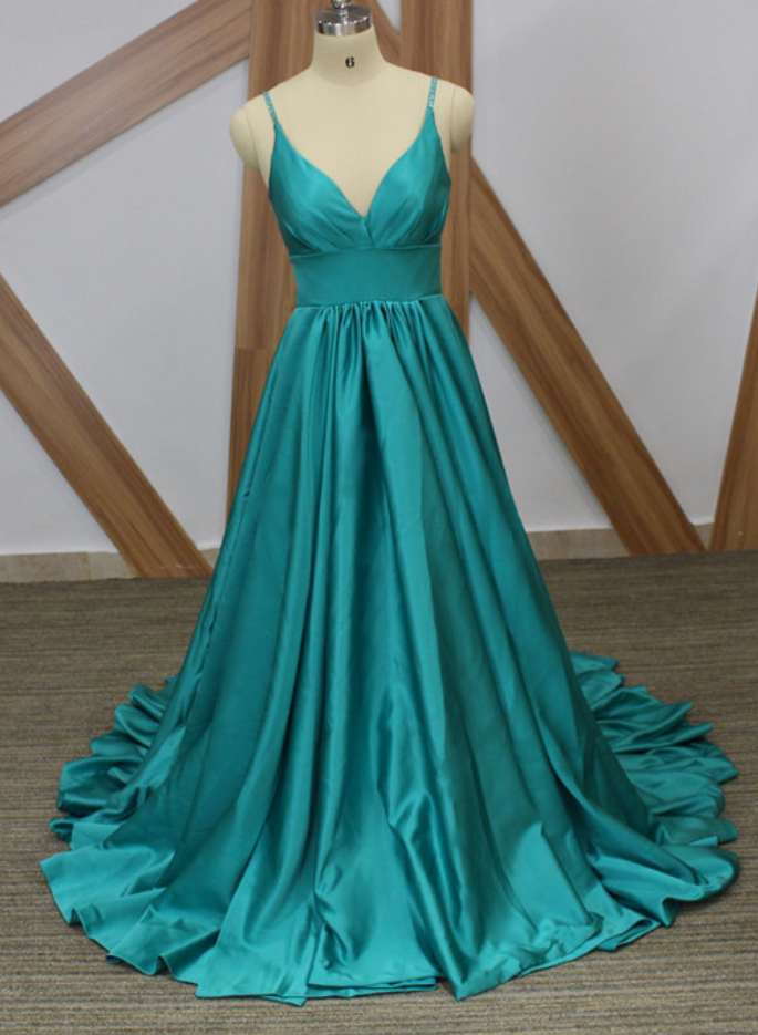 Spaghetti Straps A-line Long Satin Prom Dress Floor Length