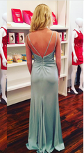 V Neck Slit Long Satin Prom Dress Spaghetti Straps