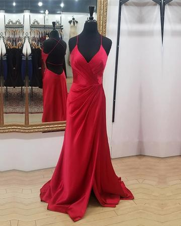 Spaghetti Straps Sheath Long Red Satin Prom Dress
