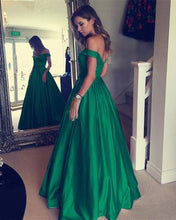 Off the Shoulder A-line Long Green Satin Prom Dress 2019