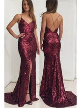 Slit Long Sequin Lace Prom Dress Spaghetti Straps Women Dress