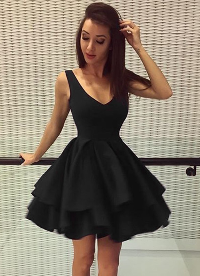 Above Knee Mini Black Satin Homecoming Dress V neckline