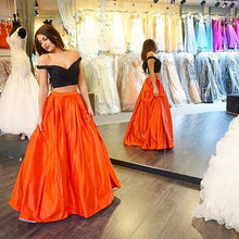 2 Pieces A-line Long Satin Prom Dress Off the Shoulder