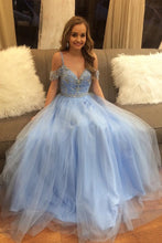 Spaghetti Strap A-line Light Blue Beaded Tulle Prom Dress