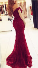 Off the Shoulder Mermaid Long Tulle Appliques Beaded Prom Dress