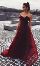 Strapless Floor Length A-line Satin Organza Prom Dress