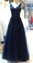 V Neck Navy Blue A-line Tulle Prom Dress with Lace Appliques
