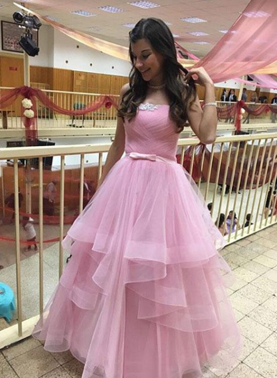 strapless A-line Long Tulle Prom Dress Pink Floor length