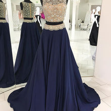 2 Pieces Navy Blue Long Satin Prom Dress Beaded Floor Length
