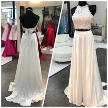 Open Back Long White Satin Prom Dress 2 Pieces lace Appliques