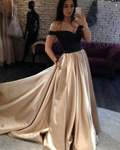Off the Shoulder Long Champagne Satin Prom Dress