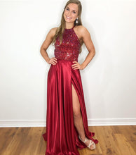 Halter Neck Long Red Satin Prom Dress Beaded Floor Length