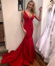 Sexy V Neck Mermaid Long Satin Red Prom Dress