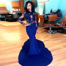 Long Sleeves Royal Blue Mermaid Chiffon Prom Dress Lace Appliques