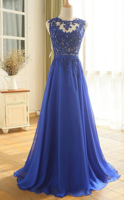 Scoop Neck Royal Blue Long Chiffon Prom Dress Lace Appliques