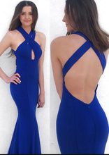 Halter Neck Mermaid Royal Blue Long Satin Prom Dress