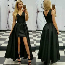 V Neck Ankle Length Black Satin Prom Dress