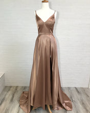 Spaghetti Straps Long A-line Satin Prom Dress